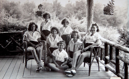 Susan Lifter (standing in the middle) with other campers from the 1940s.