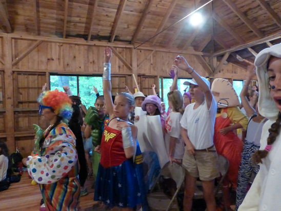 Campers Dressed Up for July 4th Activity